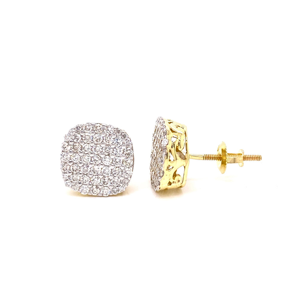 10K Gold 6 Row Curved Edge Diamonds Earrings