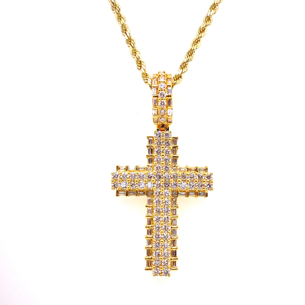 14K Yellow Gold Cross With Baguette Diamond Edges