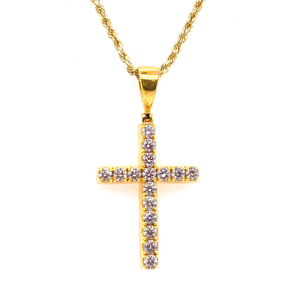 Round Solitaire Diamond Cross Pendant 10K Gold With Rope Chain