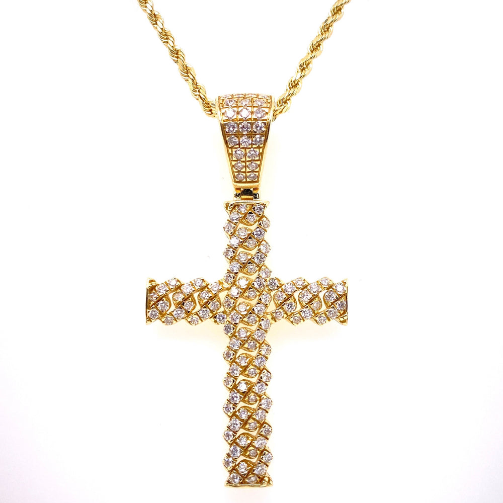 Miami Cuban Link Diamond Cross 10K Gold Pendant With Rope
