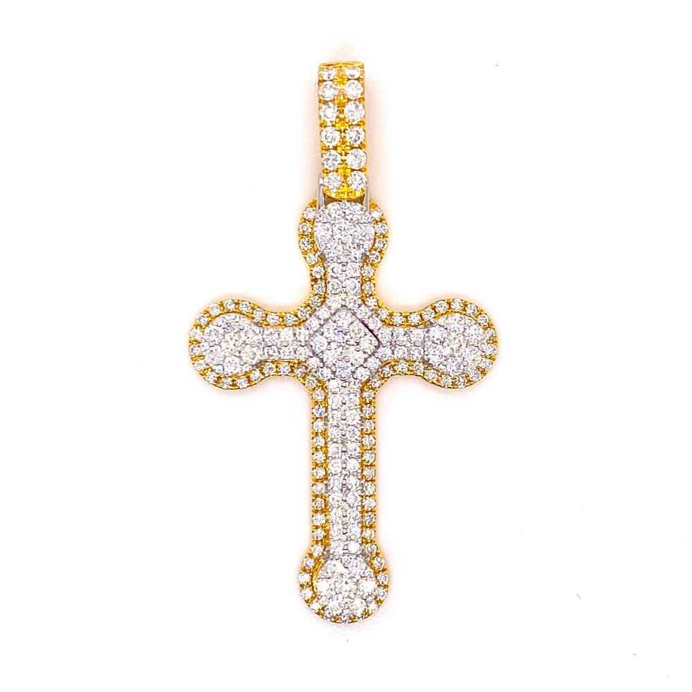 14K Gold Two Tone Diamond Cross With Rope Chain