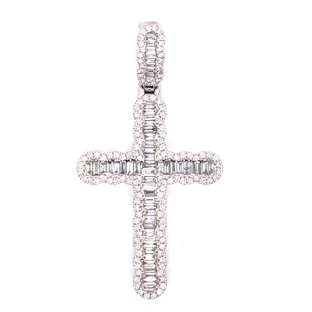 14K White Gold Curved Baguette Diamond Cross With Chain