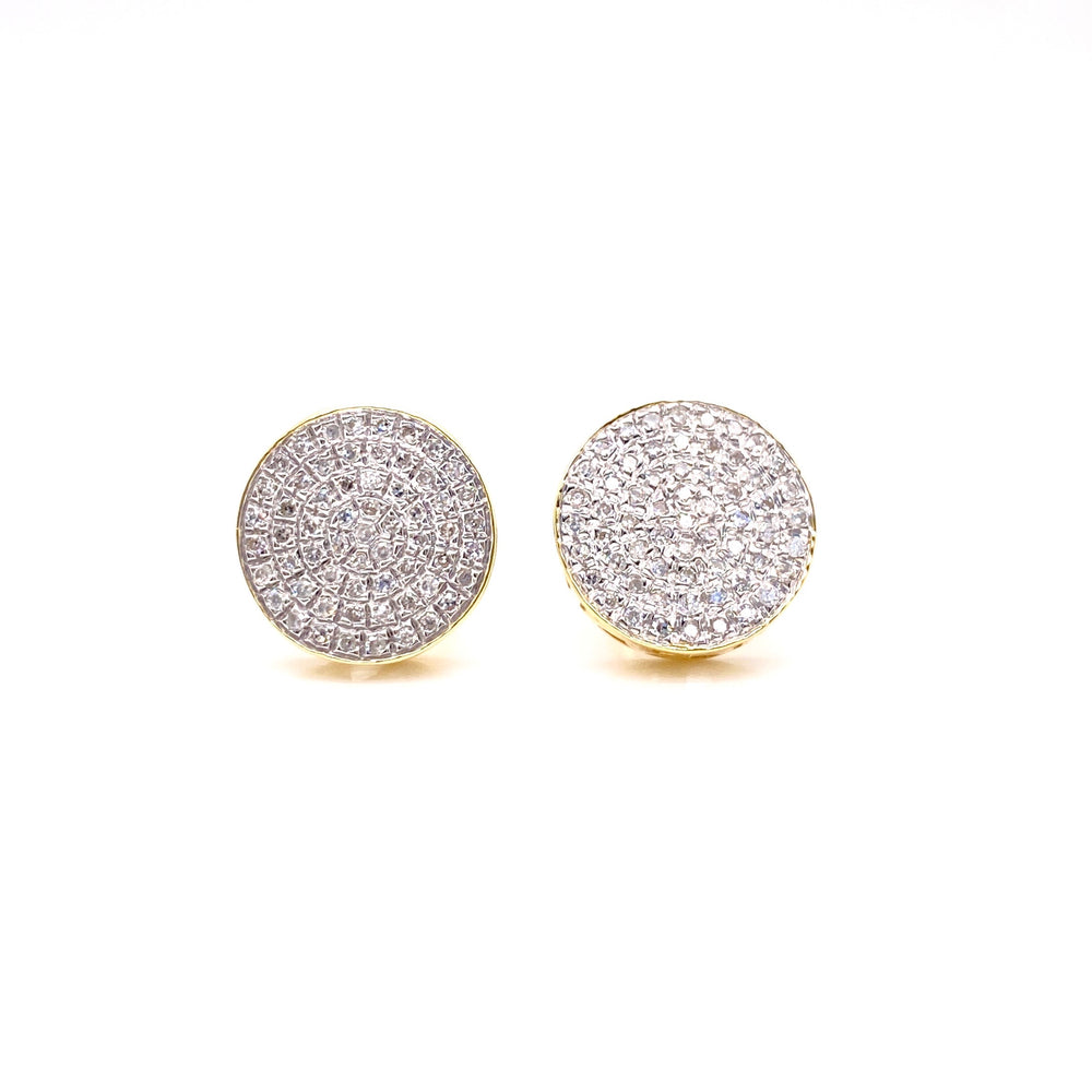 10K Yellow Gold Circle 5 Row Diamond Earrings