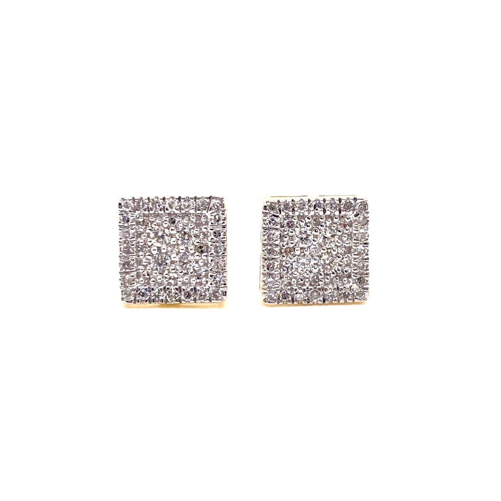 10K Yellow Gold Square Diamond Earrings