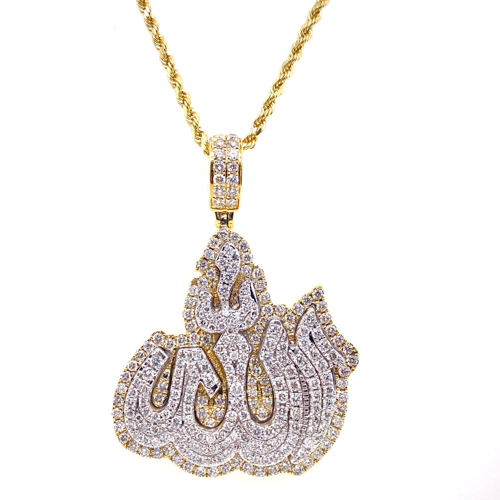 Two Tone Allah Pendant 3D Style With Rope