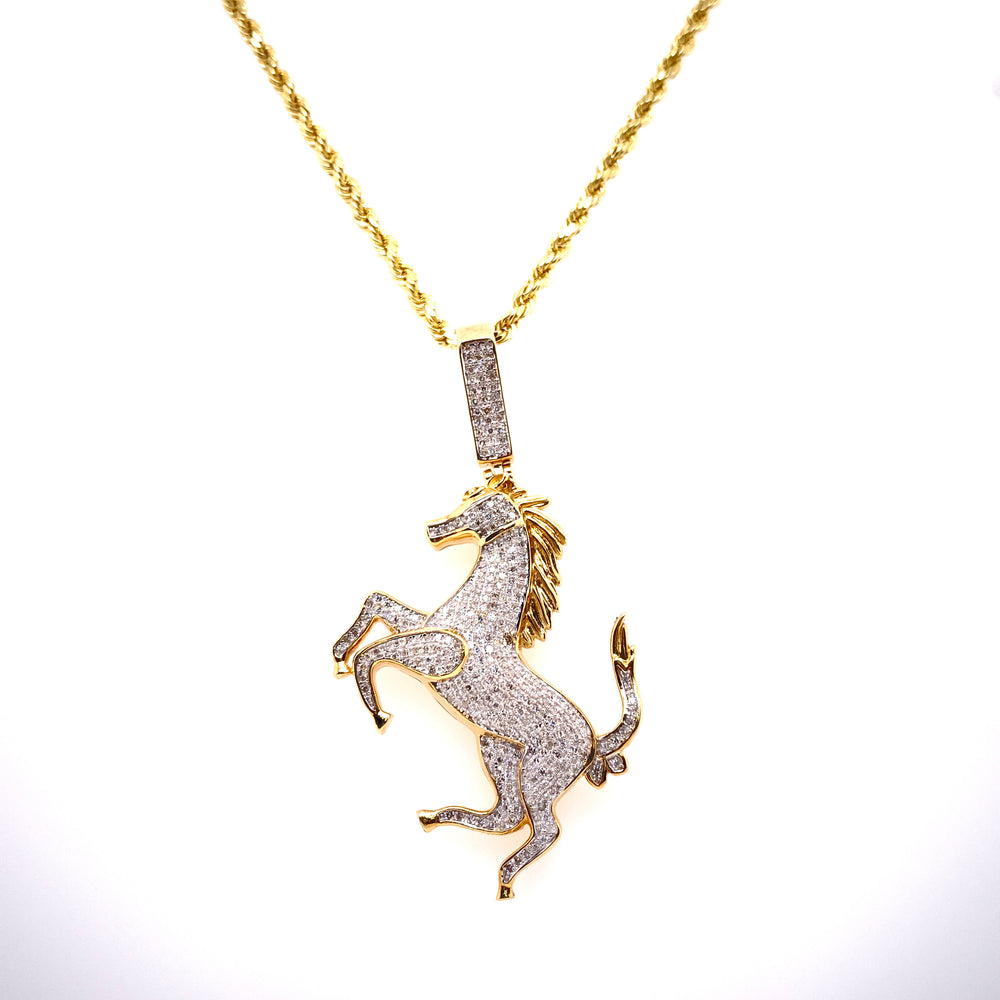 Diamond Running Horse Pendant With Rope Chain