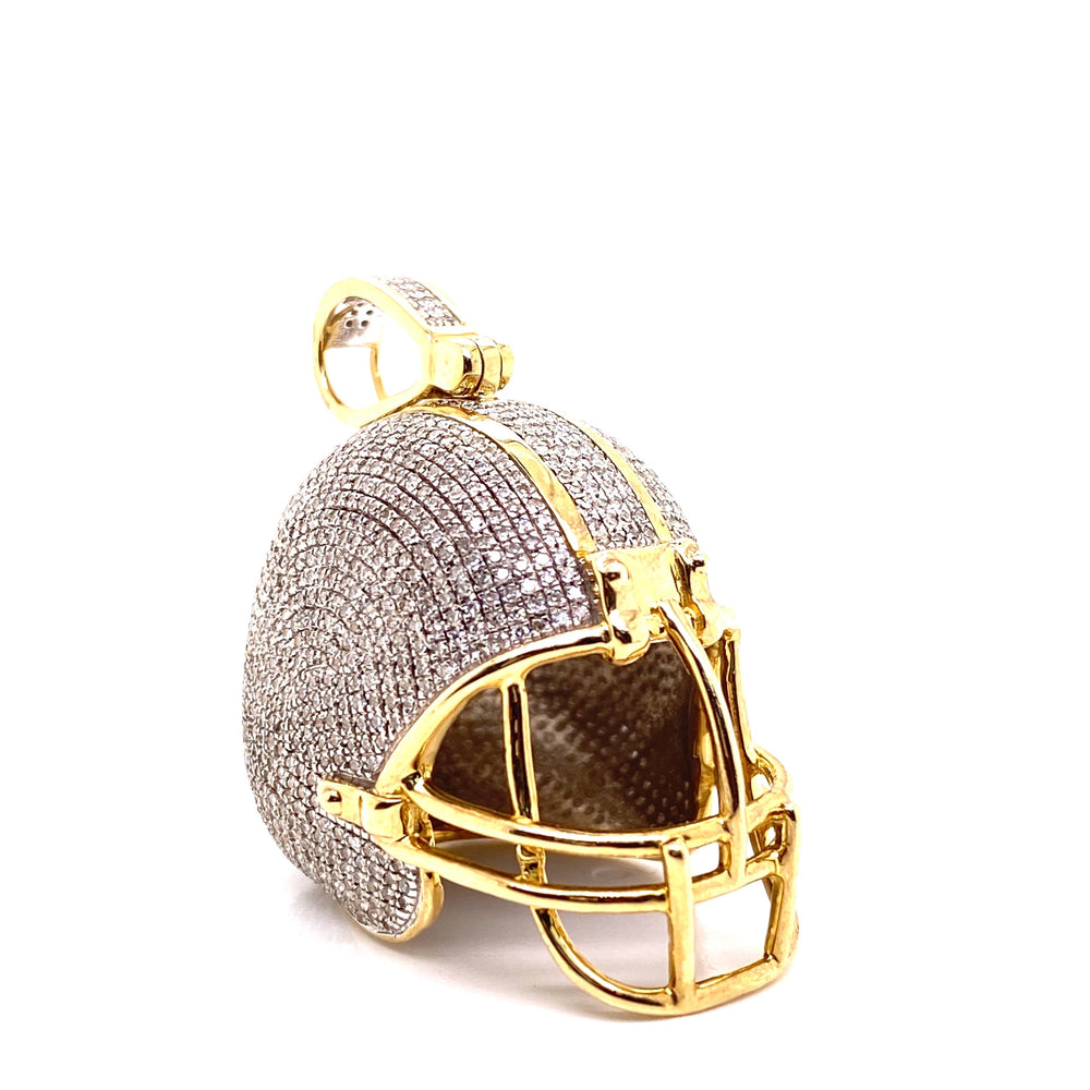 Football Helmet Diamond Pendant With Chain
