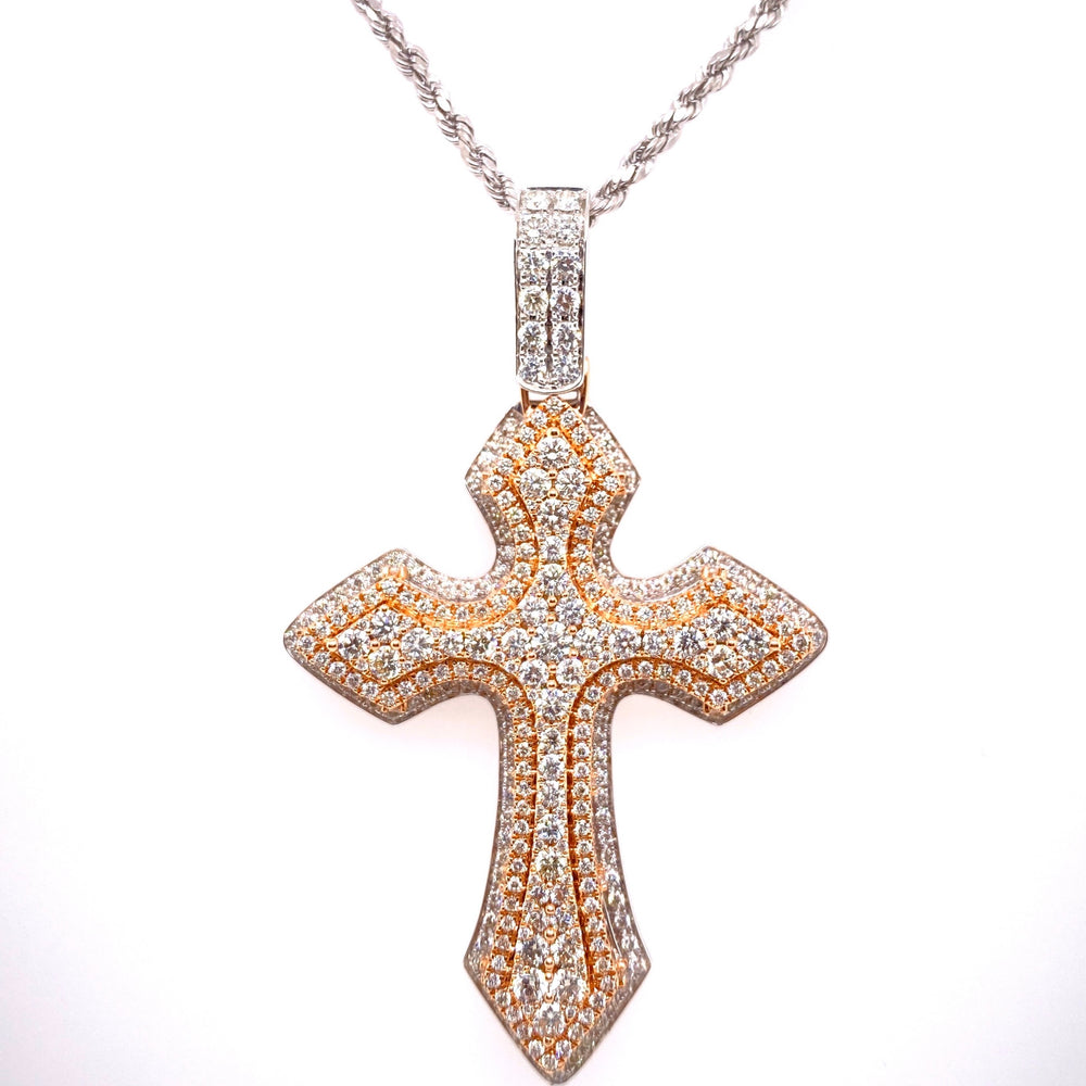 14K Two Tone Rose & White Gold Cross