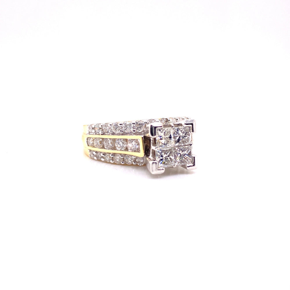 Princess Cut Womens Diamond Ring Yellow Gold
