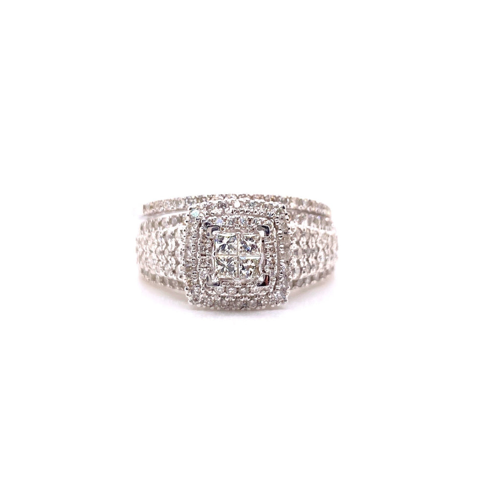 14K White Gold Diamond Ring With Band