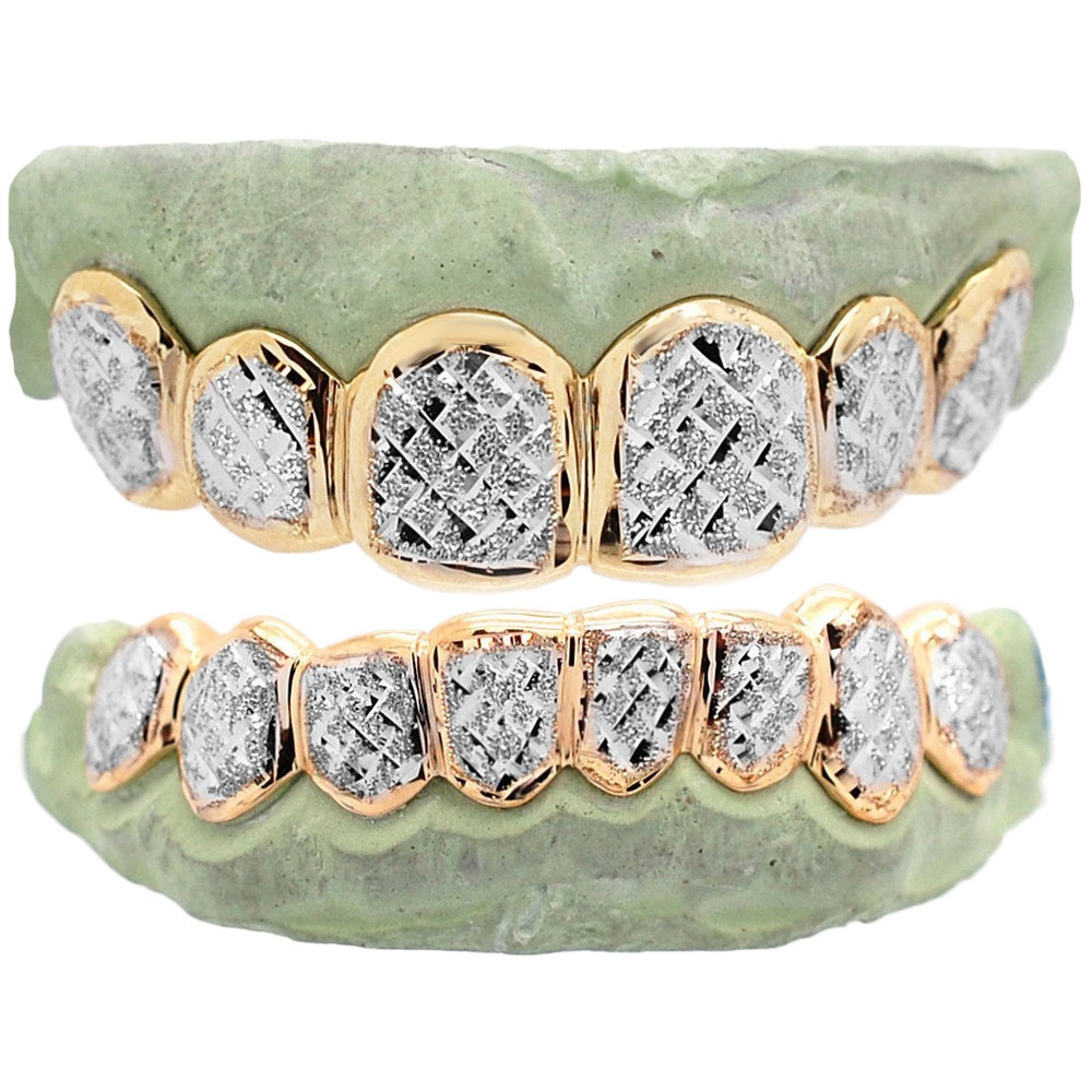 Deep Diamond Cuts Gold Custom Grillz 10K 14K 18K