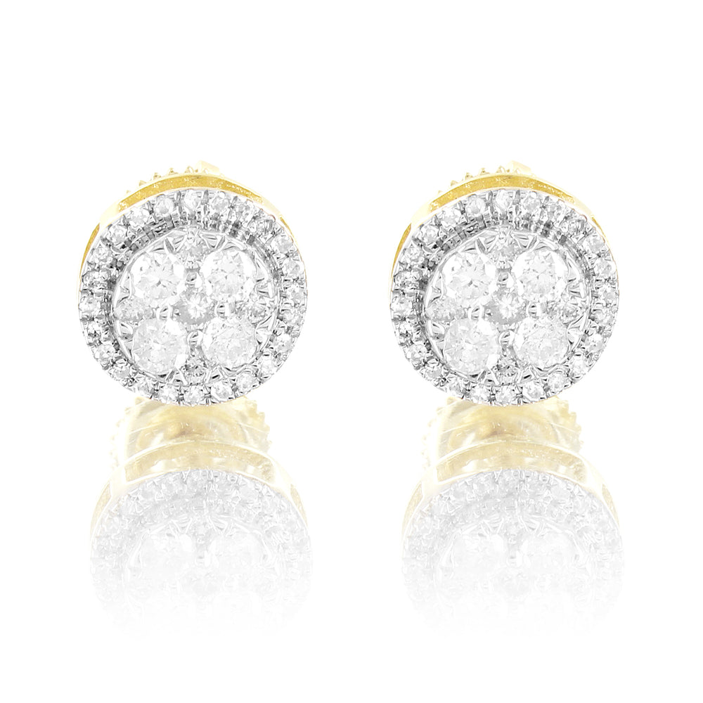 Solitaire Diamonds 10K Gold Round Prong Set Cluster Earrings