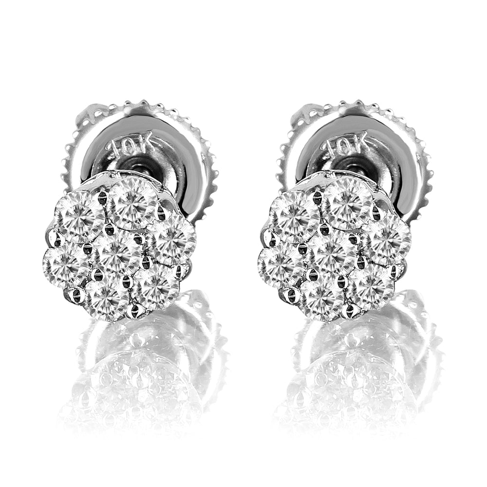 10K White Gold Flower Set Round Cut Diamond Earrings