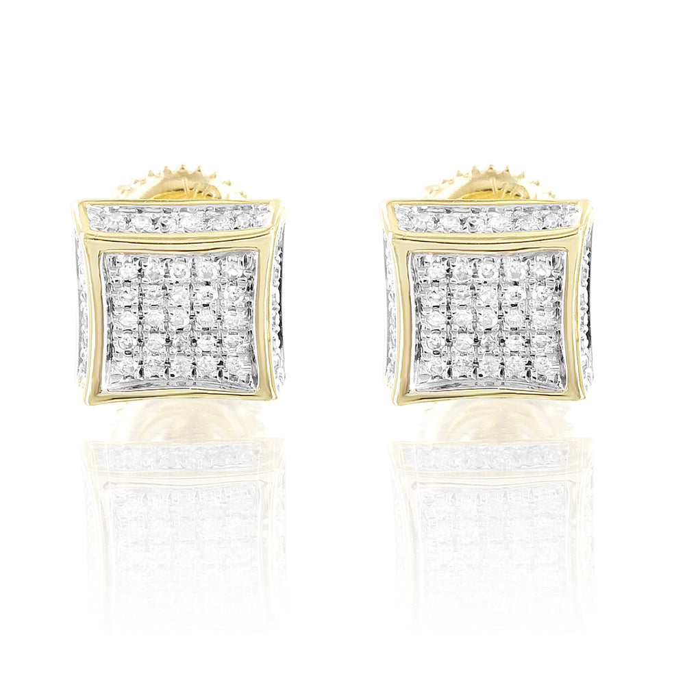 Square 10K Gold Diamonds Earrings 3D Look Screw Back Studs