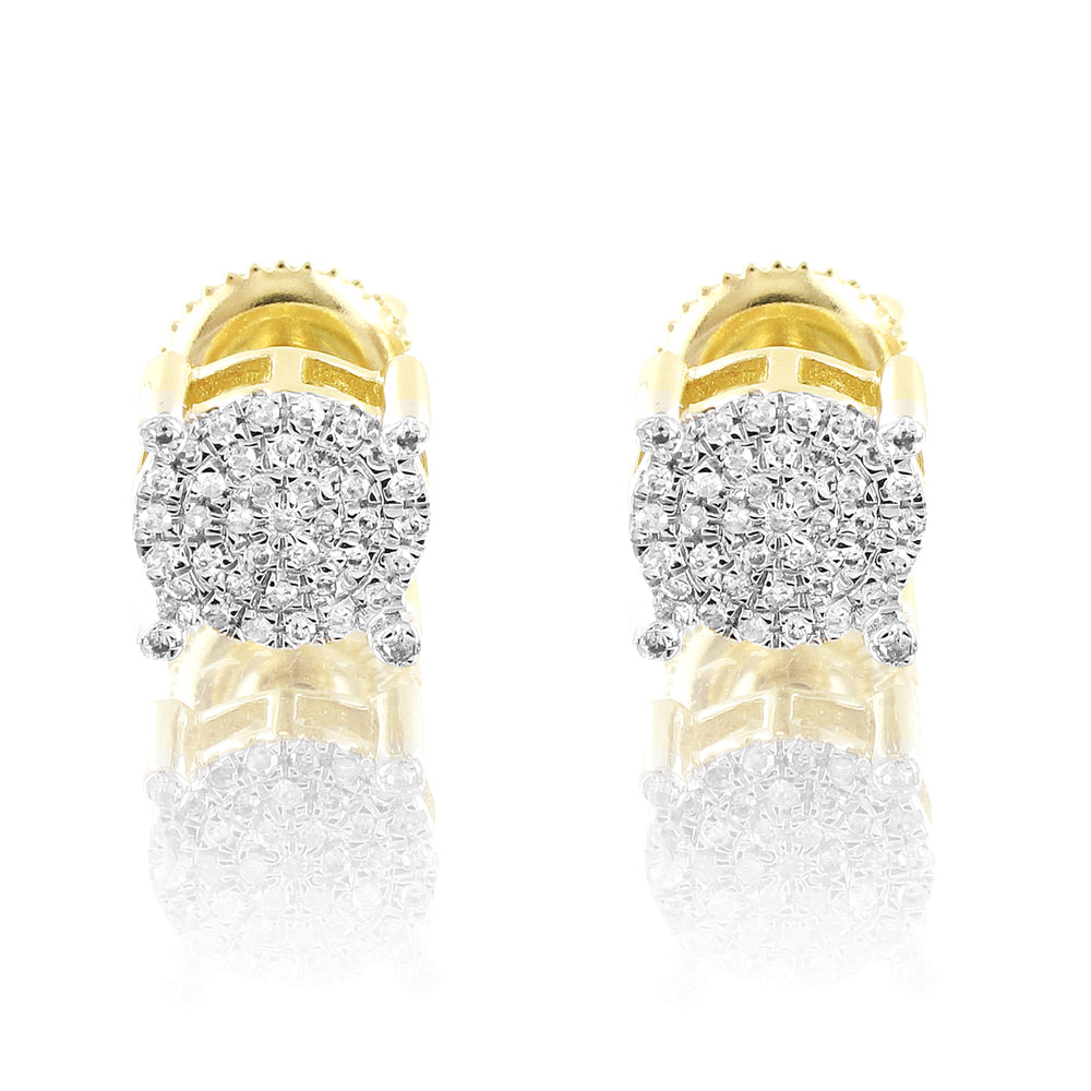 Round Micro Pave Prong Set 10K Gold Diamonds Studs Earrings