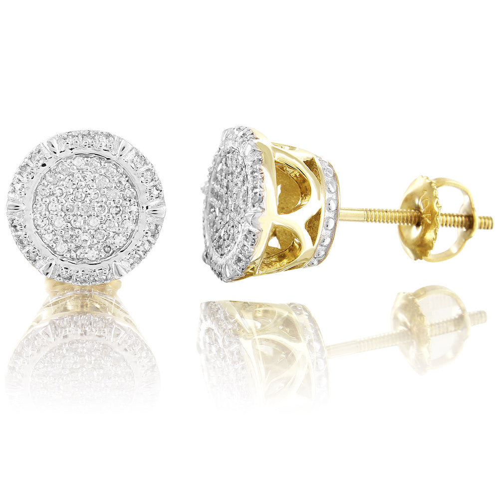 10K Yellow Gold 360 Degree Round Cut Diamond Earrings