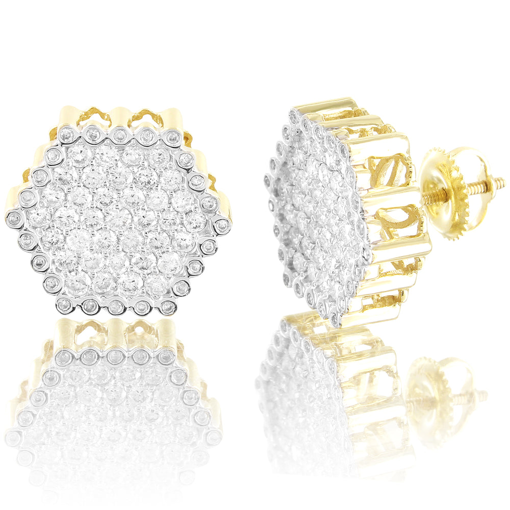 Unisex 10K Gold Hexagon Style Diamonds Stud Earrings