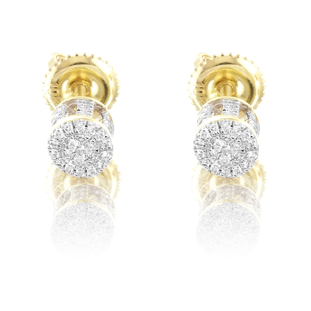 10K Gold Round Diamond Studs Earrings Micro Pave Sides