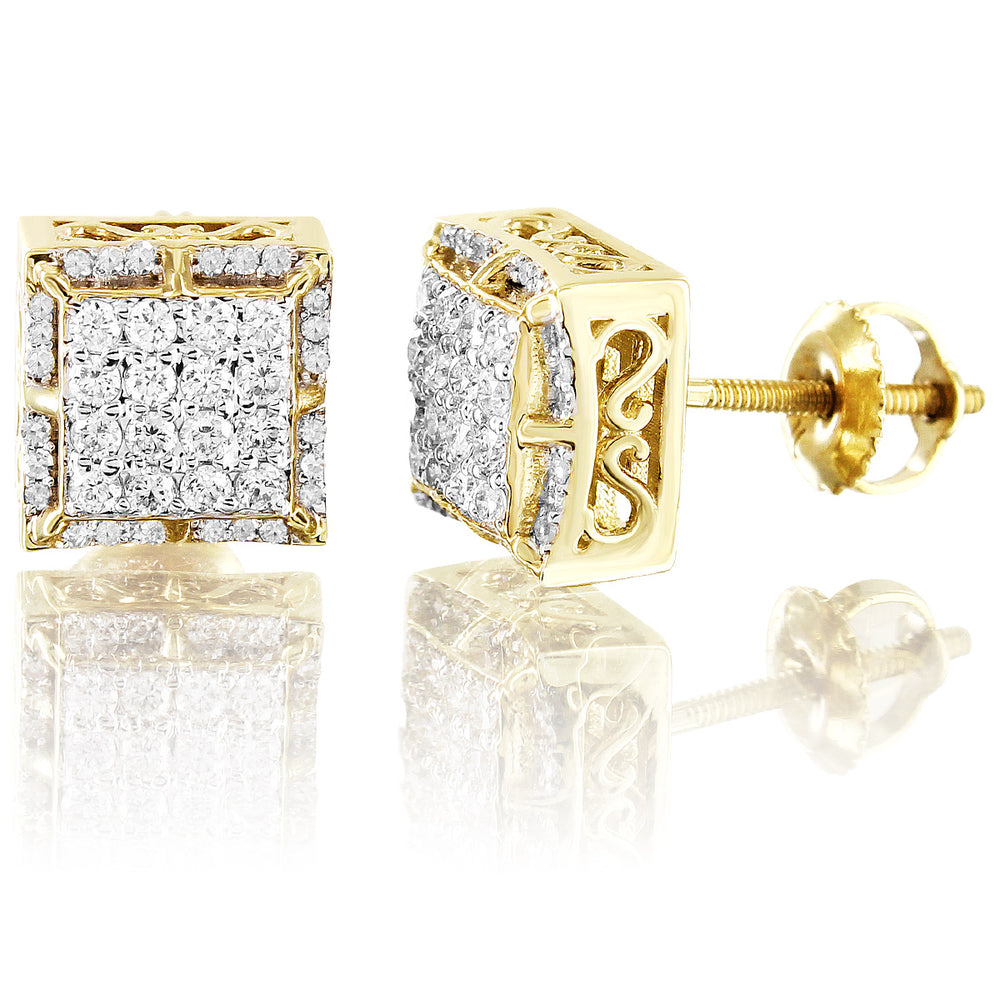 10K Yellow Gold Custom Square Diamond Earrings