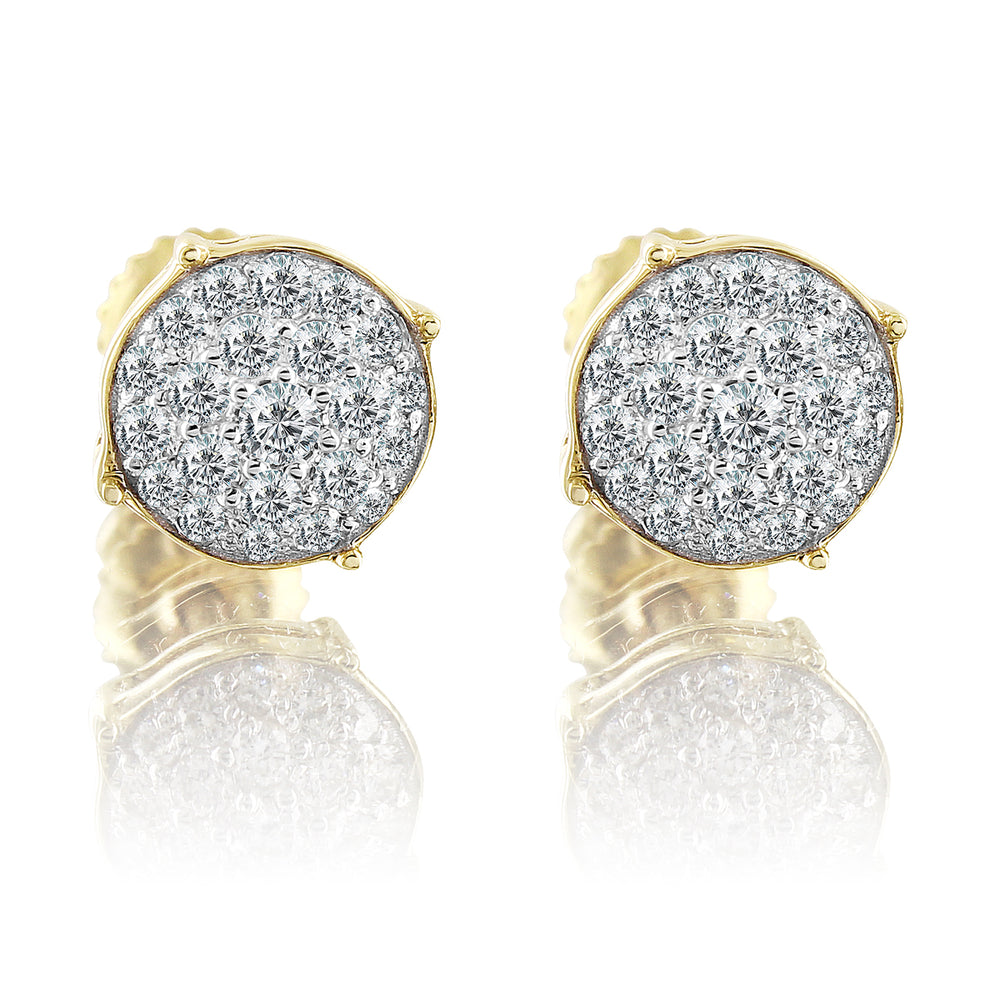 10K Yellow Gold Circle Round Cut Diamond Earrings