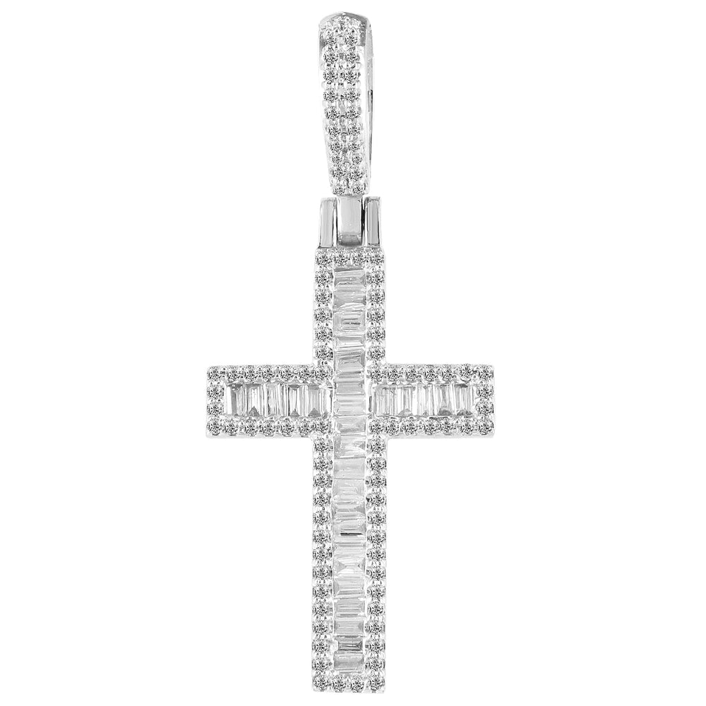 10K White Gold Baguette Diamond Cross Pendant