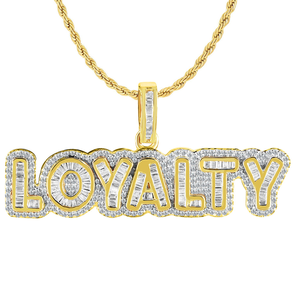 10K Gold Baguette Diamond Loyalty Pendant