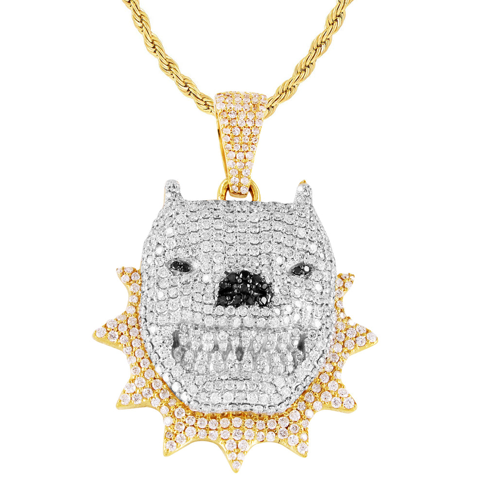 10K Yellow Gold Diamond Dog With Spikes Pendant