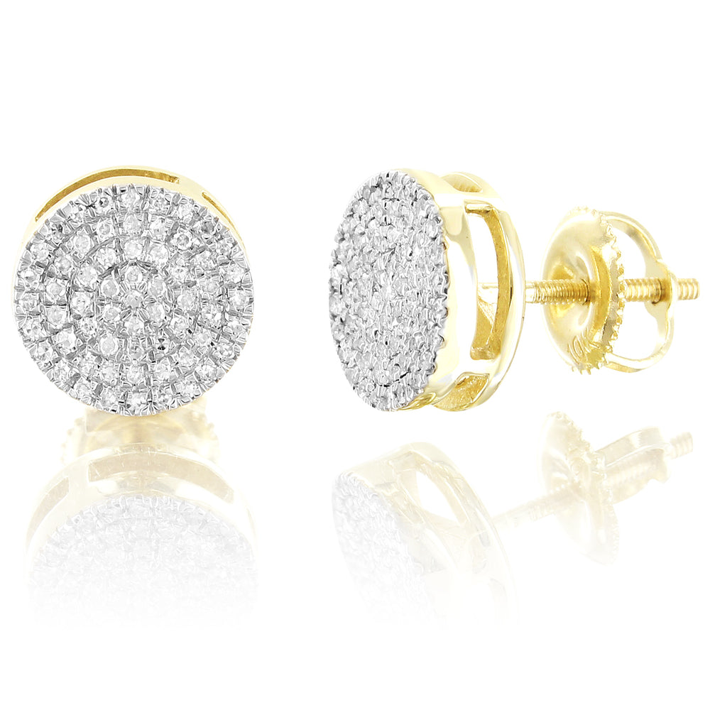 10K Gold Round Cluster Diamonds Earrings Micro Pave Screw Back