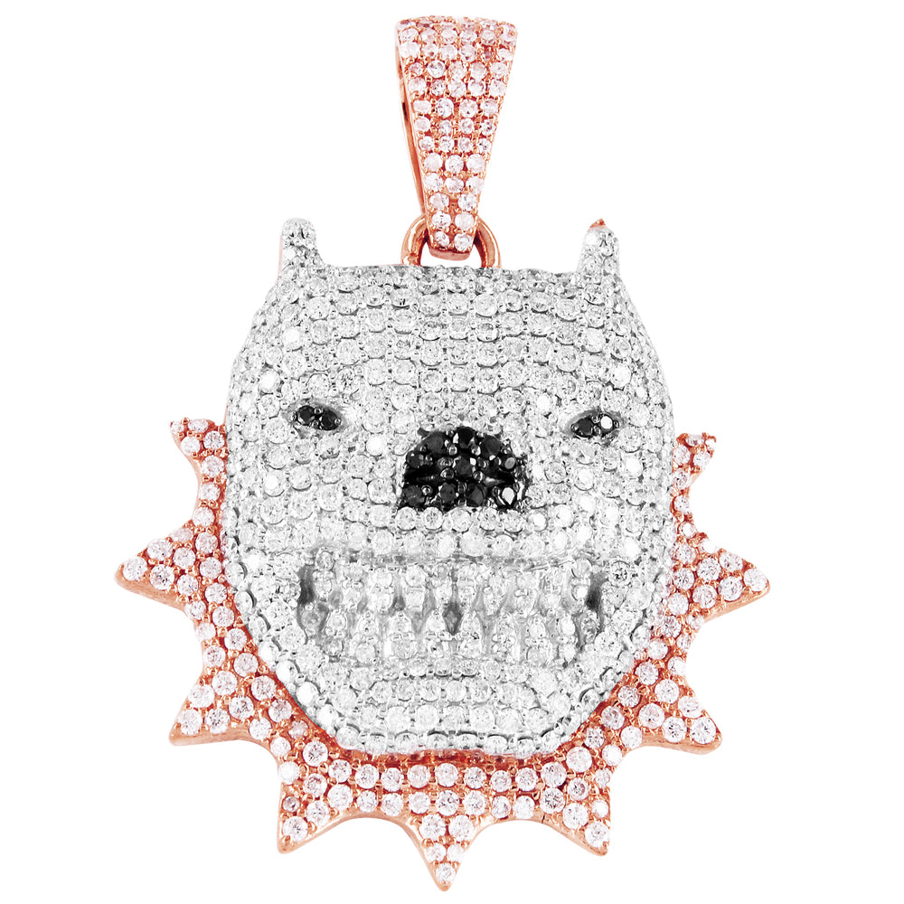 10K Rose Gold Diamond Dog With Spikes Pendant