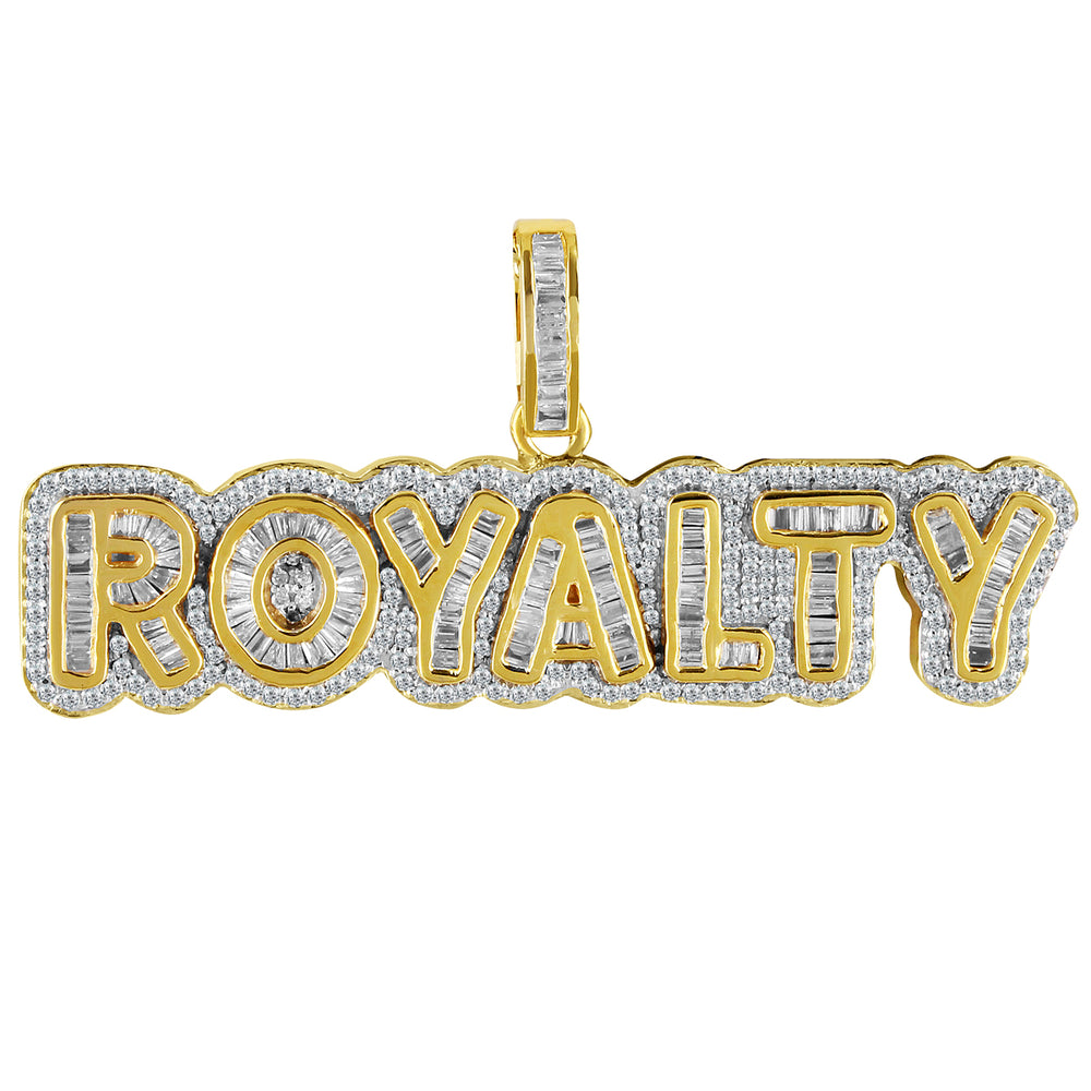 10K Gold Baguette Diamond Royalty Pendant