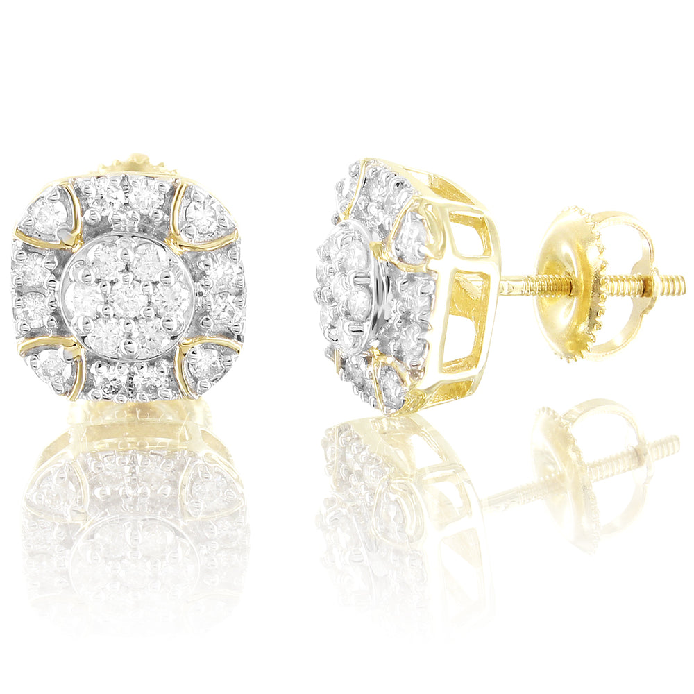 10K Gold Diamond Round Solitaire Flower Screw Back Earrings