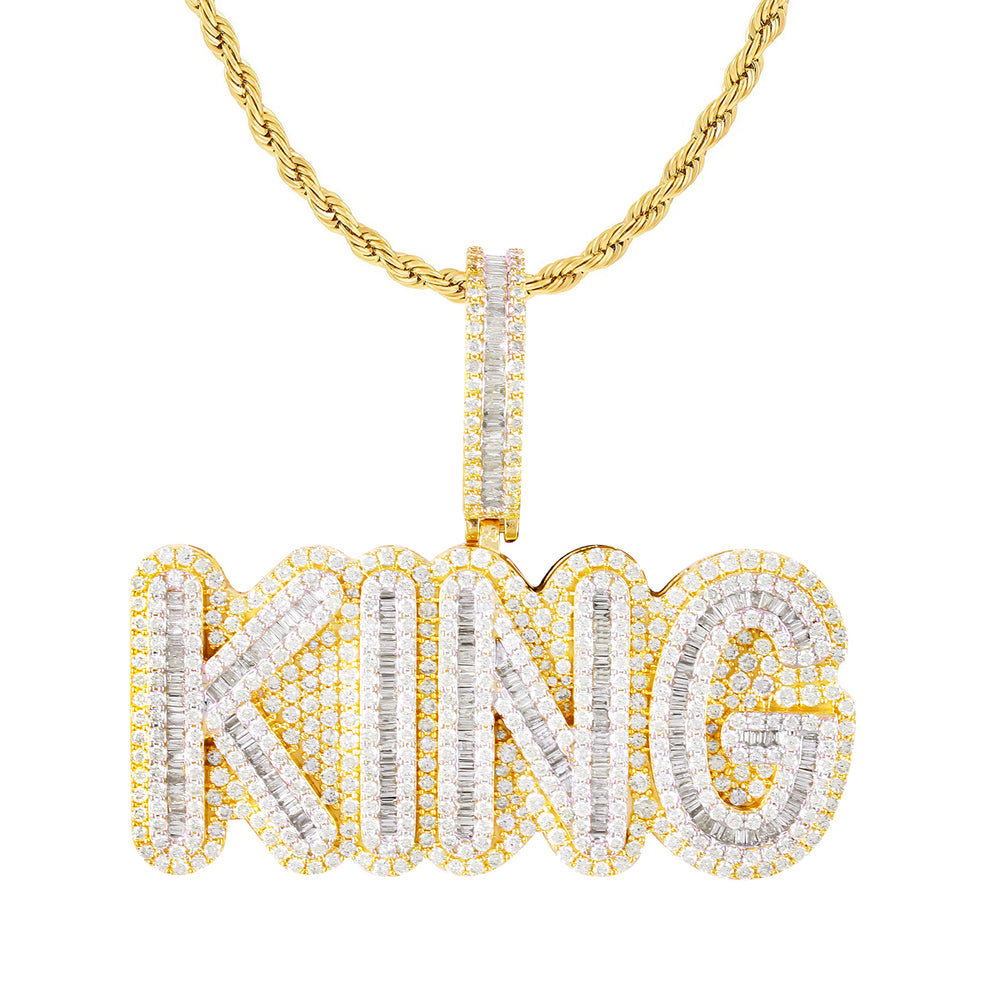 10K Yellow Gold Baguette Diamond King Pendant