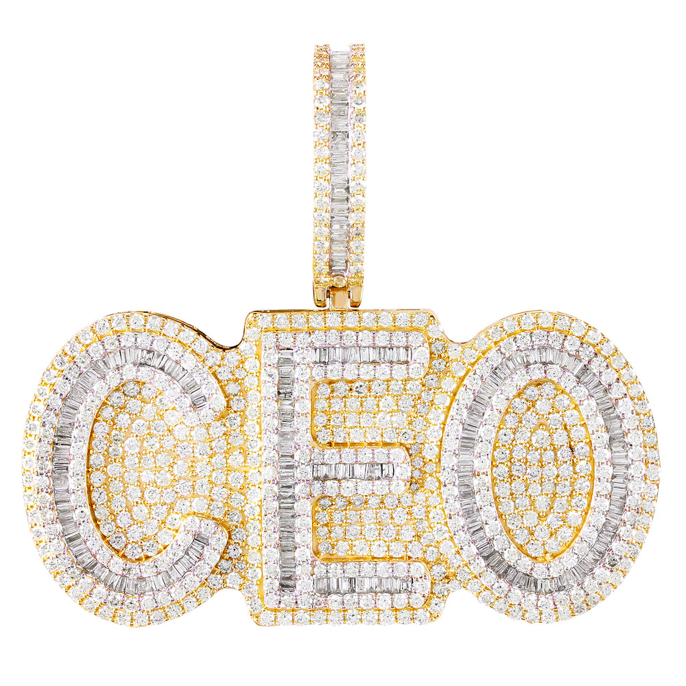 10K Yellow Gold Baguette Diamond Ceo Pendant