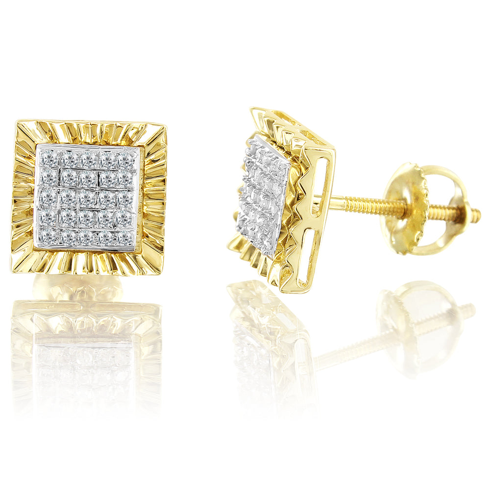 10K Yellow Gold Square Cut Nugget Trim Diamond Earrings
