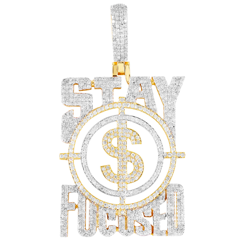 10K Gold Stay Focused On $ Pendant