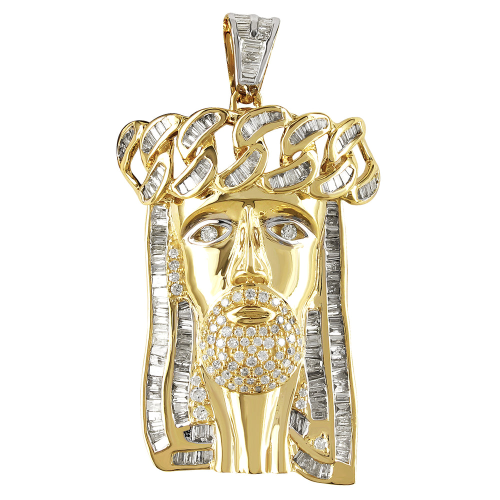 10K Gold Baguette Diamond Jesus Face Pendant