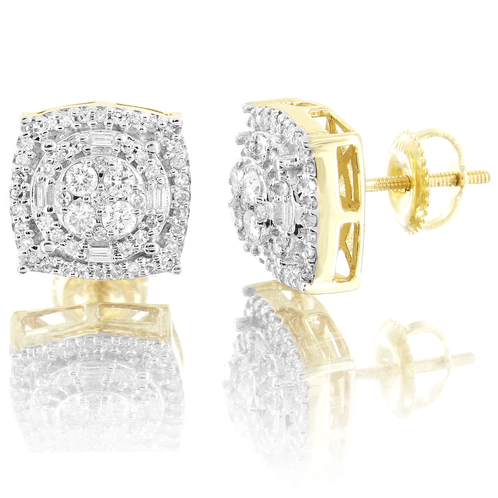10K Gold Square Halo Prong Set Diamonds Screw Back Earrings