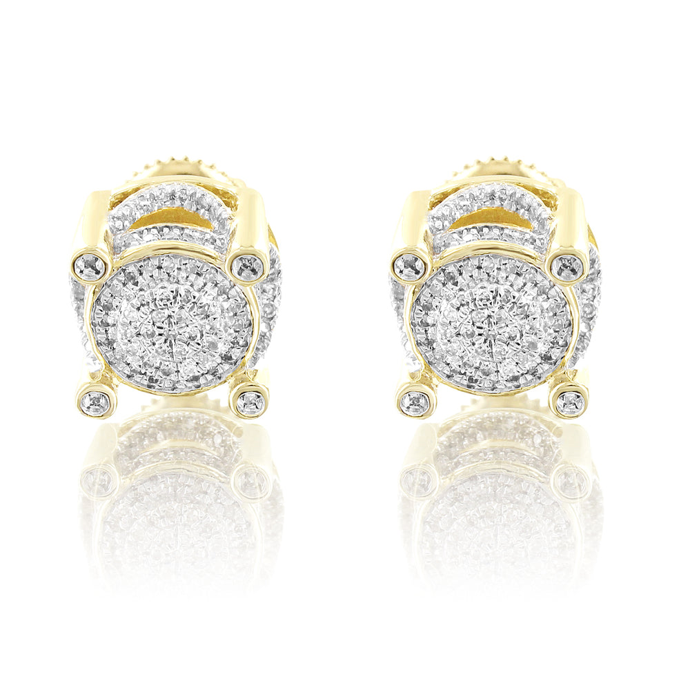 Round Prong Set 10K Gold Diamonds Cluster Studs Earrings