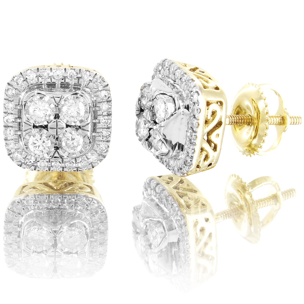 10K Gold Solitaire Prong Diamonds Square Shape Earrings