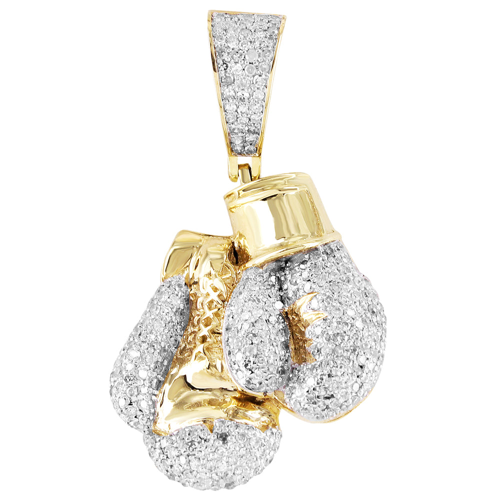 10K Yellow Gold Boxing Gloves Diamond Pendant