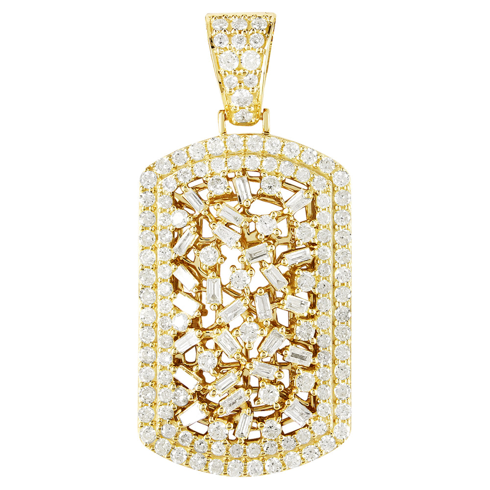 10K Gold Cluster Baguette Diamonds Dog Tag Pendant