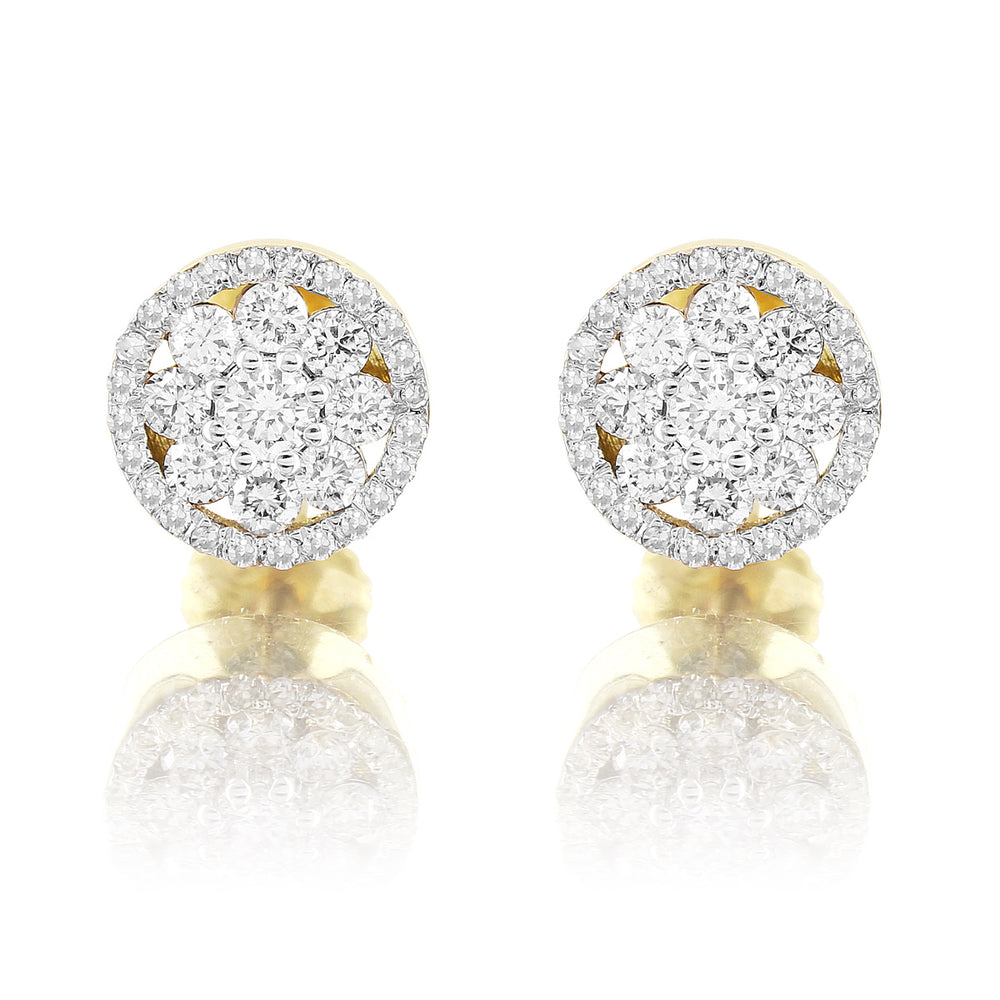 10K Yellow Gold Flower Set Round Cut Diamond Earrings