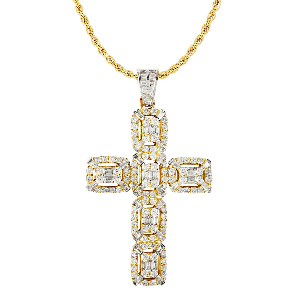 10K Yellow Gold Baguette Diamond Cross Pendant