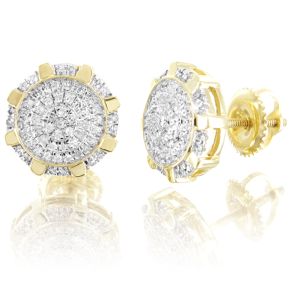 Octagon Shape 10K Gold Cluster Diamonds Screw Back Earrings