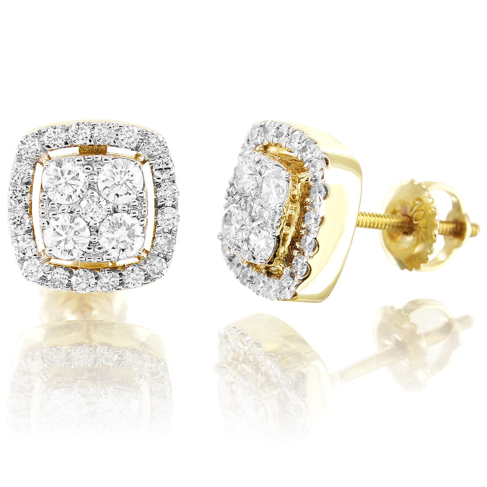 10K Yellow Gold Halo Square Cut Diamond Earrings