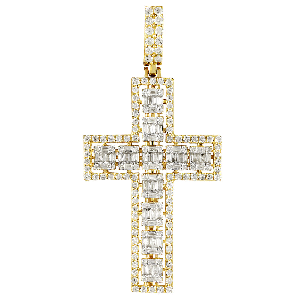 10K Gold Double Layered Baguette Diamond Cross Pendant
