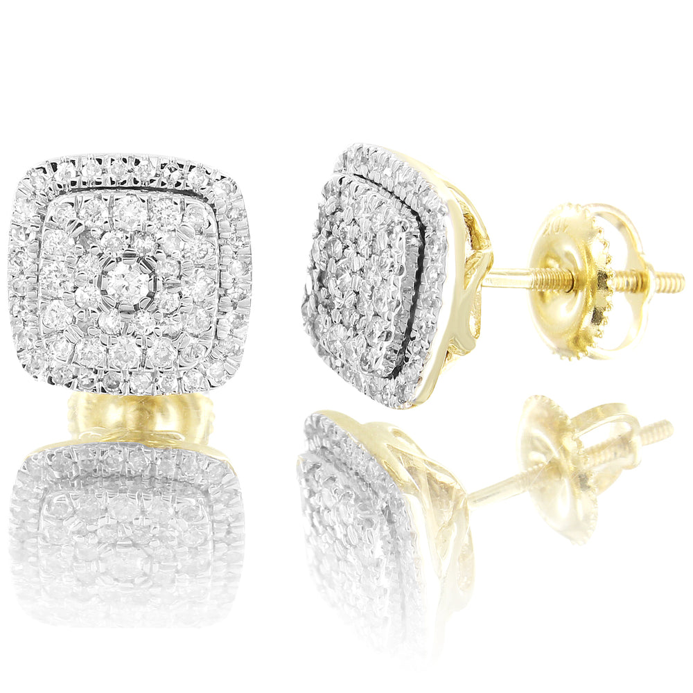 10K Gold Solitaire Micro Pave Square diamonds Stud Earrings