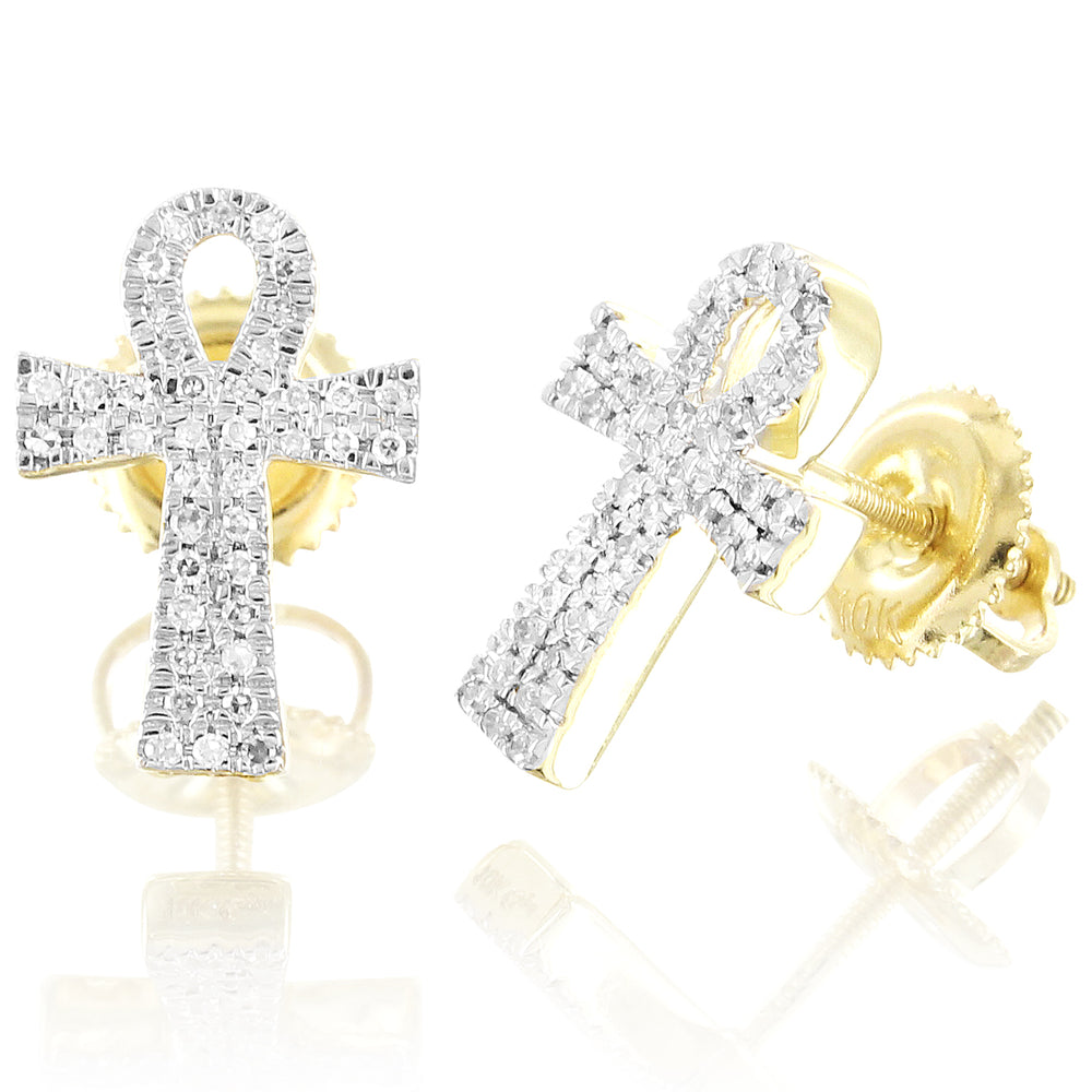 10K Gold Diamond Ankh Cross Earrings Micro Pave Studs