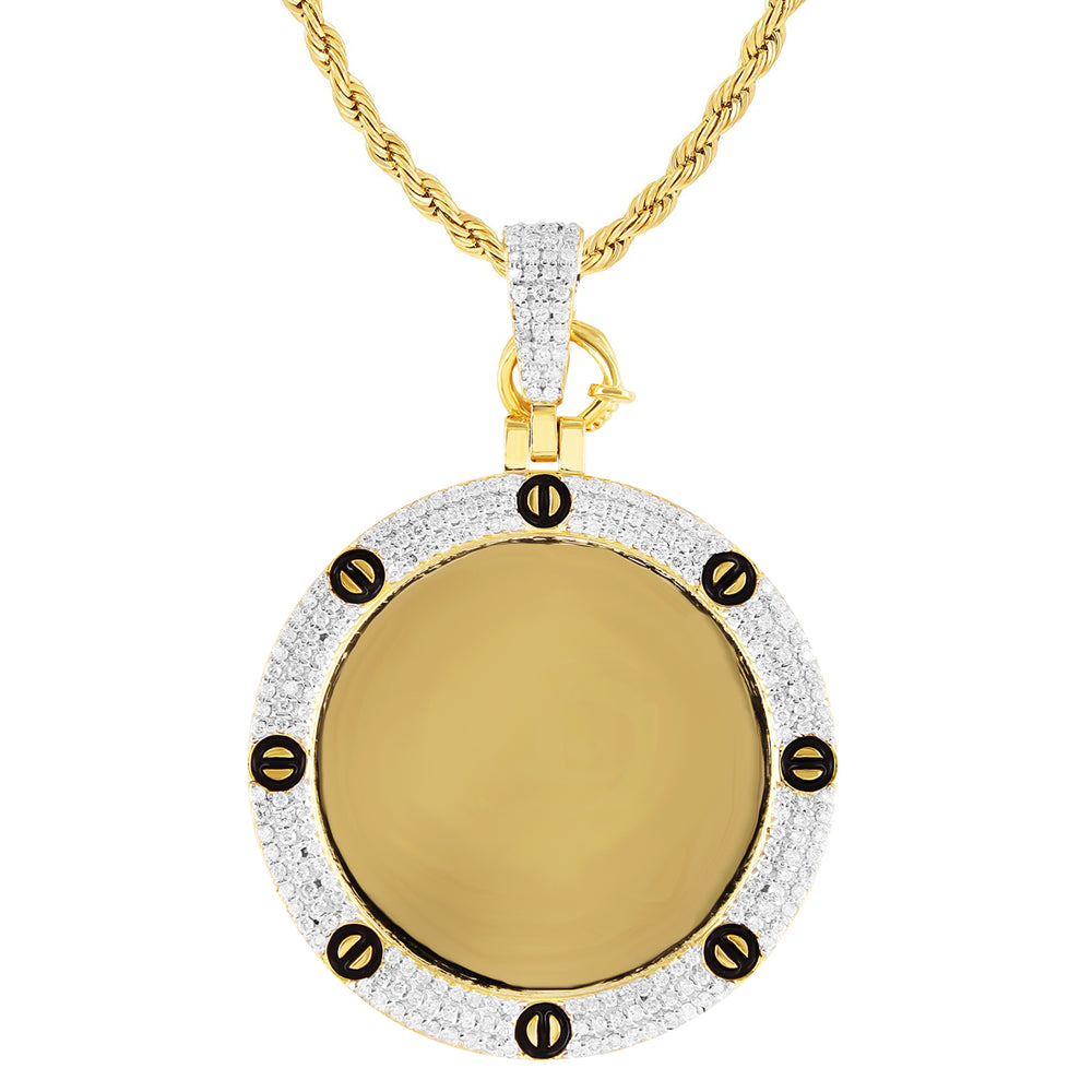 10k Yellow Gold Diamond Nail Bezel Picture Pendant