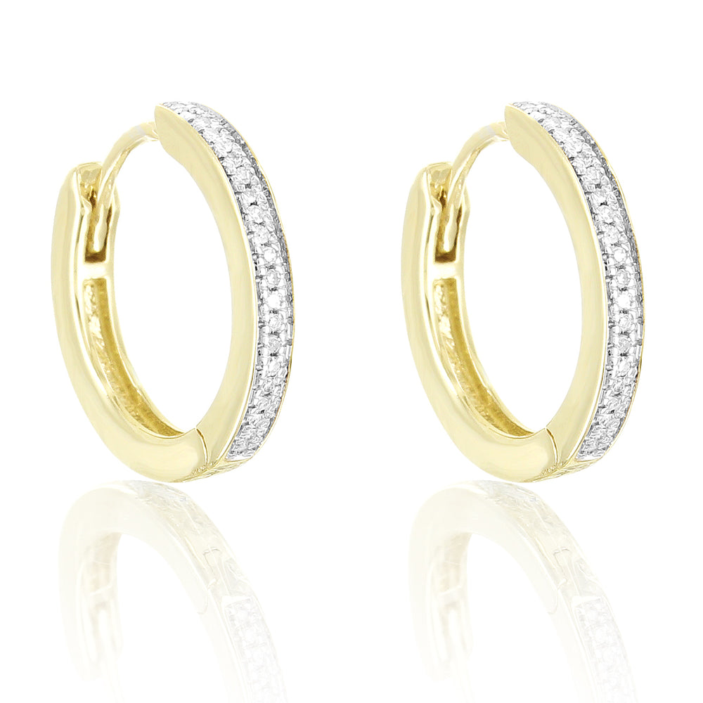 10K Gold Genuine Diamonds Classy Ladies Hoop Earrings